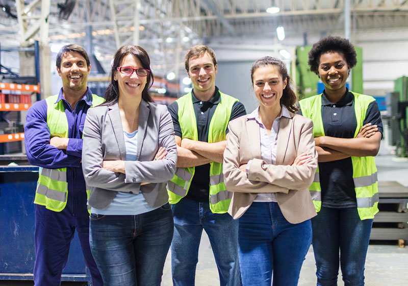 Group of employees in warehouse